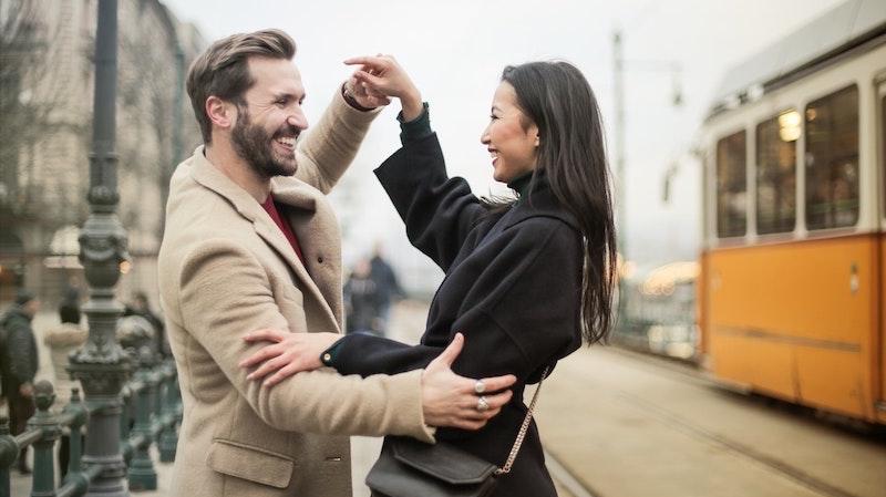 happy couple embracing
